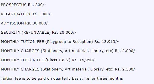 Fee structure of Lahore grammar school